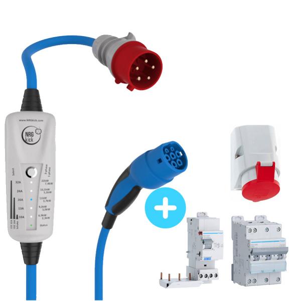 Pack NRGkick 32 A + Interrupteur différentiel HAGER BDH440F + Disjoncteur HAGER 40A NGT840