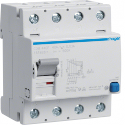 HAGER CDB640F - Differential switch 40A - Type B - 4P - 30mA