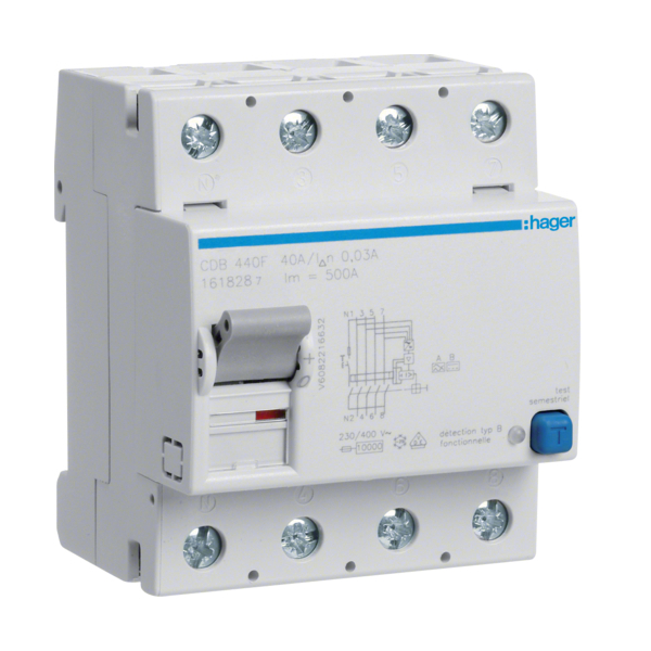 HAGER CDB640F - Differential switch Type B - 4P - 40A - 30mA