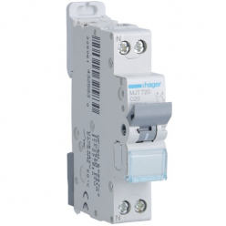 HAGER MJT720 - Circuit breaker 20A - 1P + N - Curve C - PdC 6kA