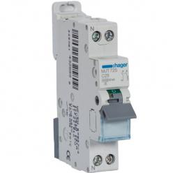 HAGER MJT725 - Circuit breaker 25A - 1P + N - Curve C - PdC 6kA