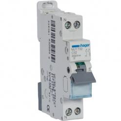 HAGER MJT732 - Circuit breaker - 1P + N - 32A - Curve C - PdC 6kA