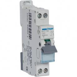 HAGER MJT740 - Circuit breaker 40A - 1P + N - Curve C - PdC 6kA