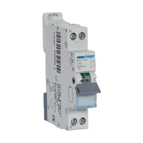 HAGER MJT740 - Disjoncteur - 1P+N - 40A - Courbe C - PdC 6kA