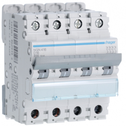 HAGER NGN416 - Circuit breaker 16A - 4P - D curve - PdC 10kA