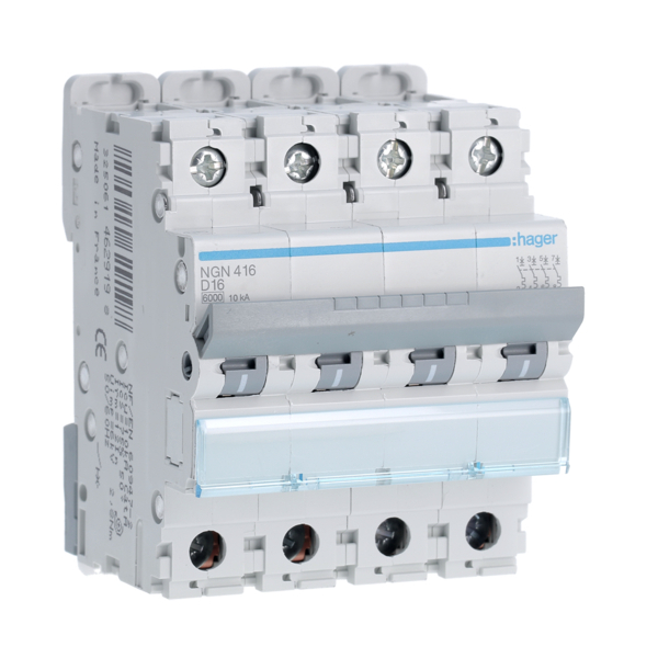 HAGER NGN416 - Circuit breaker - 4P - 16A - Curve D - 10kA