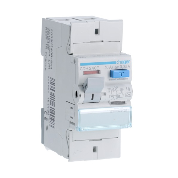HAGER CDH240E - Differential switch 40A - Type A Hi - 2P - 30mA