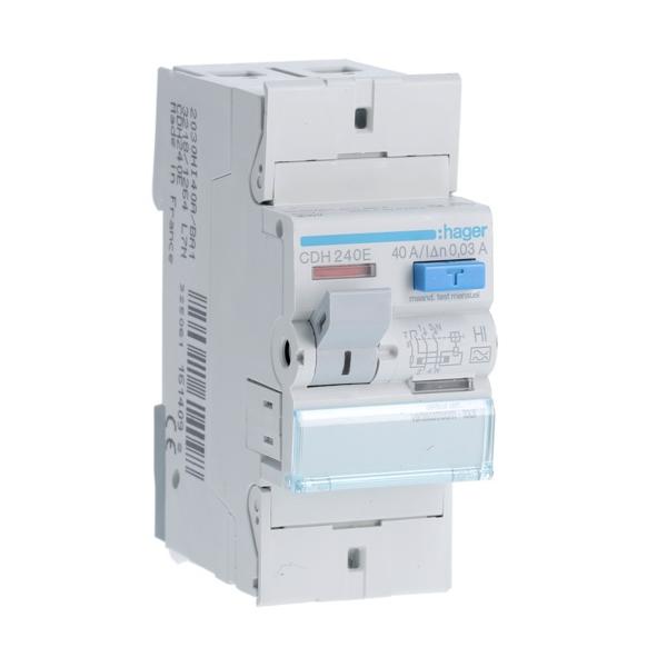 HAGER CDH240E - Interrupteur différentiel 40A - Type A Hi - 2P - 30mA