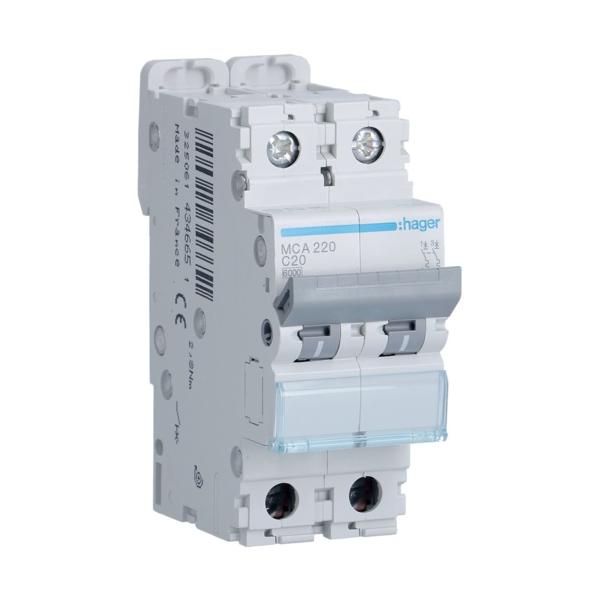 HAGER MCA220 - Circuit Breaker 20A - 2P - Curve C - PdC 6kA