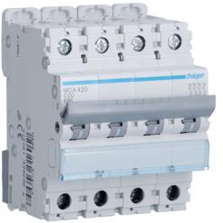 HAGER MCA420 - Circuit Breaker 20A - 4P - Curve C - PdC 6kA