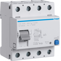 HAGER CDB440E - Differential switch 40A - Type B - 4P - 30mA