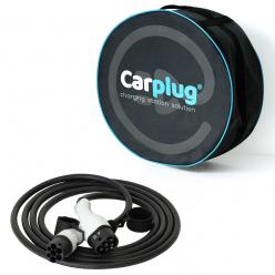 CARPLUG Câble de recharge - Type 2 - Type 2 - 5m - 22kW (3 phases 32A) - T2  T2 + Housse